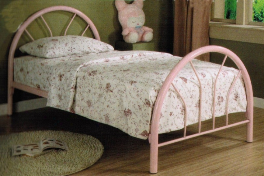 Twin Size Metal Bed With Fan Style In Pink Finish