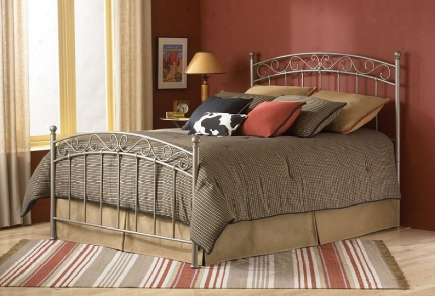 Twin Size Metal Bed With Frame - Ellsworth Transitional Design In New Brow Finish