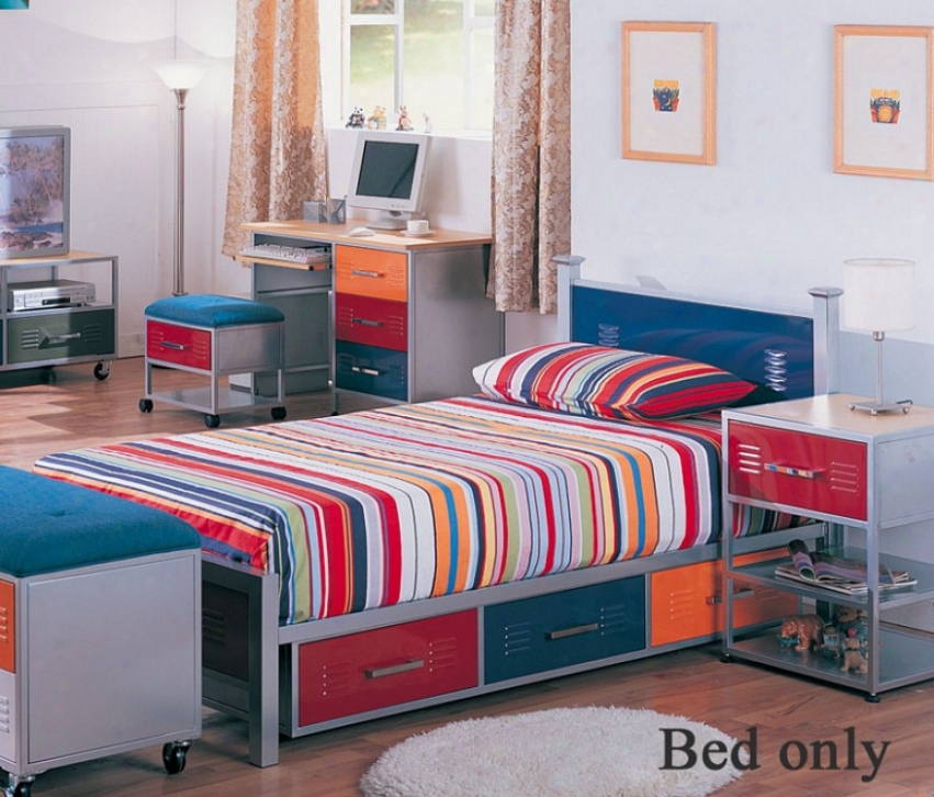 Twin Size Metal Bed With Storage Drawers In Multicolor Finish
