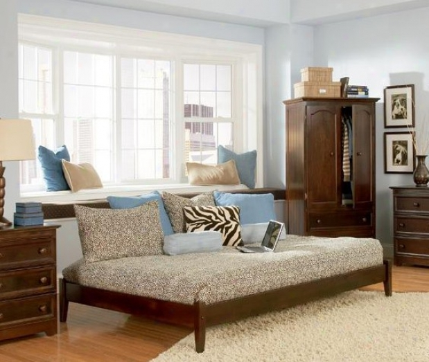 Twin Size Platform Bed With Open Footrail Antique Walnut Finish