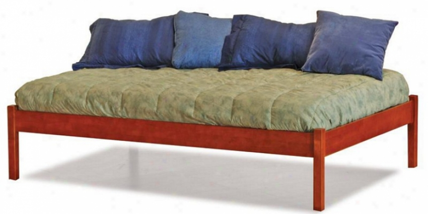 Twin Size Platform Bed With Open Footrail Caramel Latte Finish