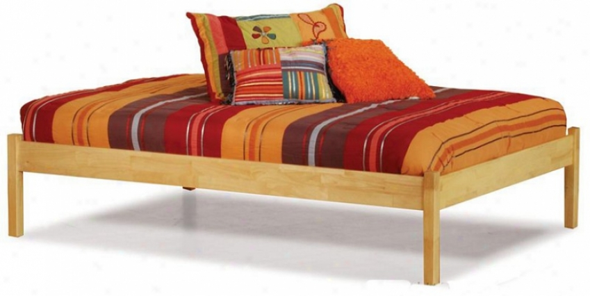Twin Bigness Platfofm Bed With Open Footrail Natural Maple Finish
