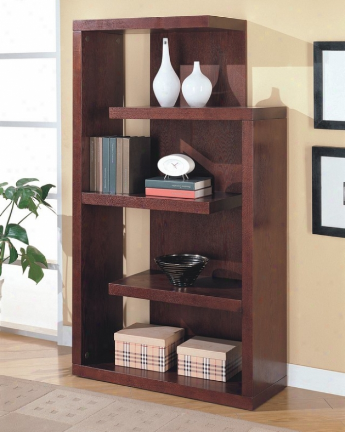 Unique Shaped Cappuccino Finish Storage & Display Bookcase