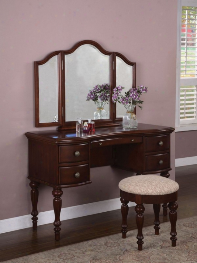 Vanity Set With Tri-fold Mirror In Marquis Cherry Finish