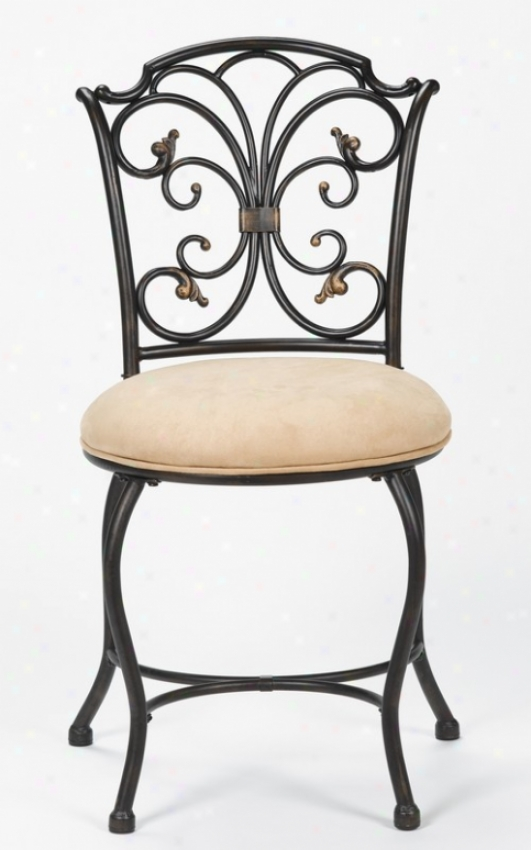 Vanity Stool With Curly Accent Back In Black Gold Finish