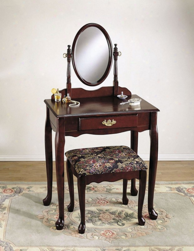 Vanity Table And Bench Set With Mirror In Heirloom Cherry Finish
