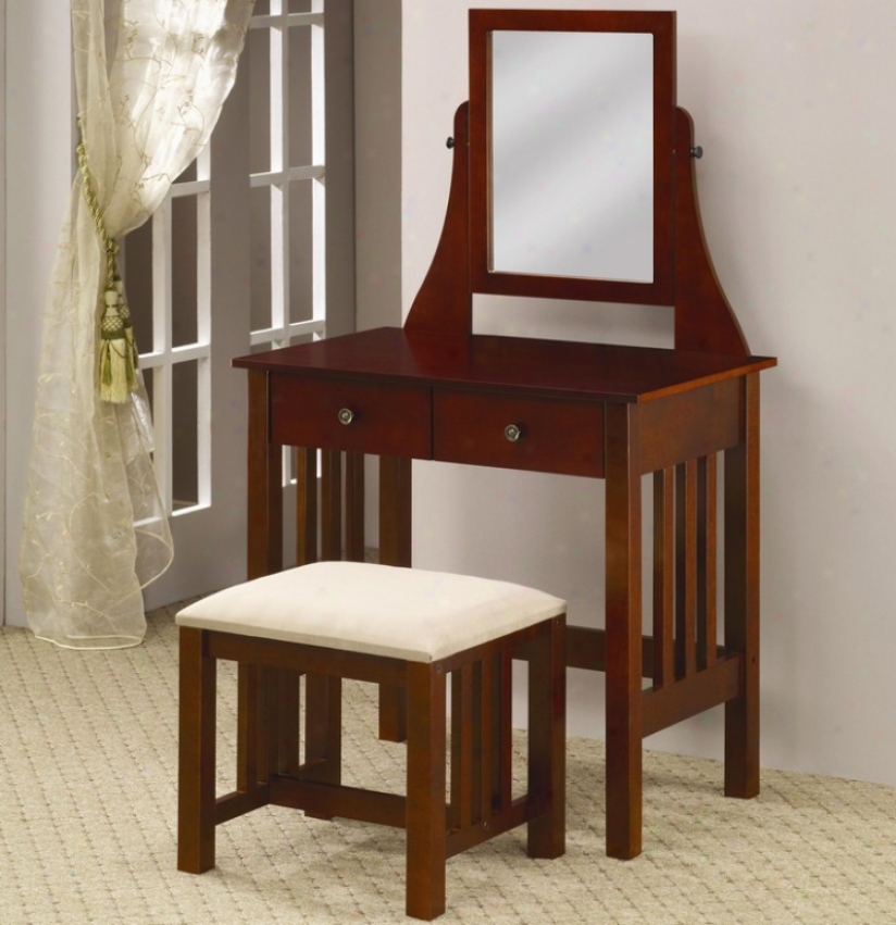 Vanity Table And Chair Set By the side of Mirror In Deep Warm Brown Finish