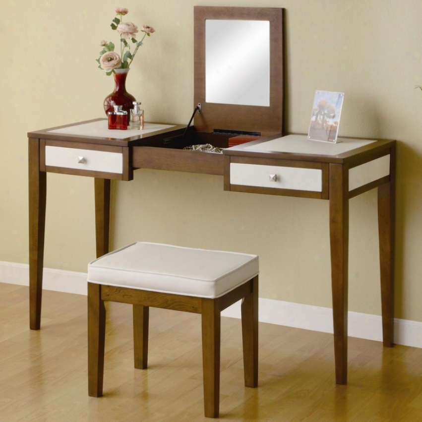 Vanity Table And Chair Set With Mirror In Two Prevailing color  Finish