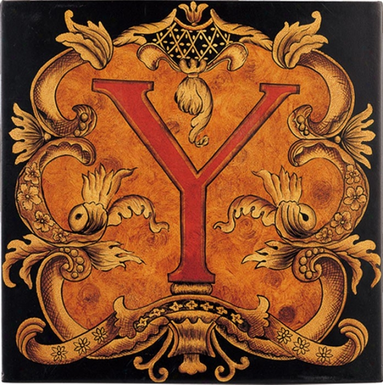 Wall Art Decor With Ornate Pattern - Single Y In Red