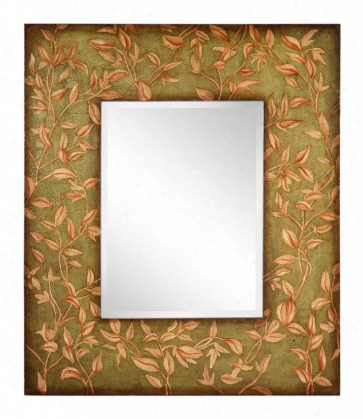 Wall Beveled Mirror With Hand Painted Leaves Accents In Aged Moss Finish