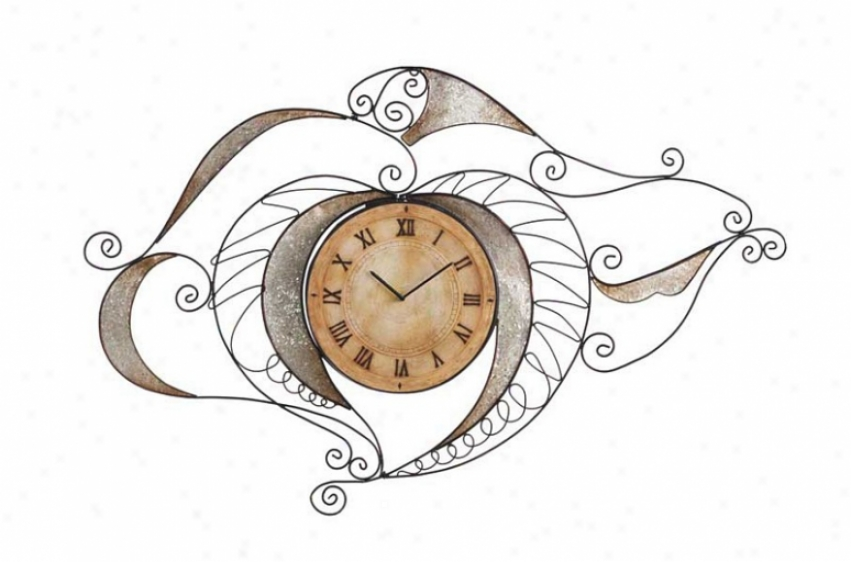 Wall Clock Round Face Artistic Filigree Frame In Silve5