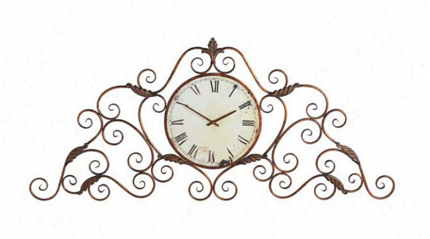Wall Clock Round Face Flourish Clock Frame In Antique Copper Gold