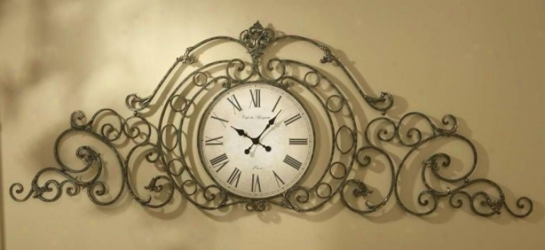 Wall Clock With Scroll Design In Majestic Brown And Gold Finish