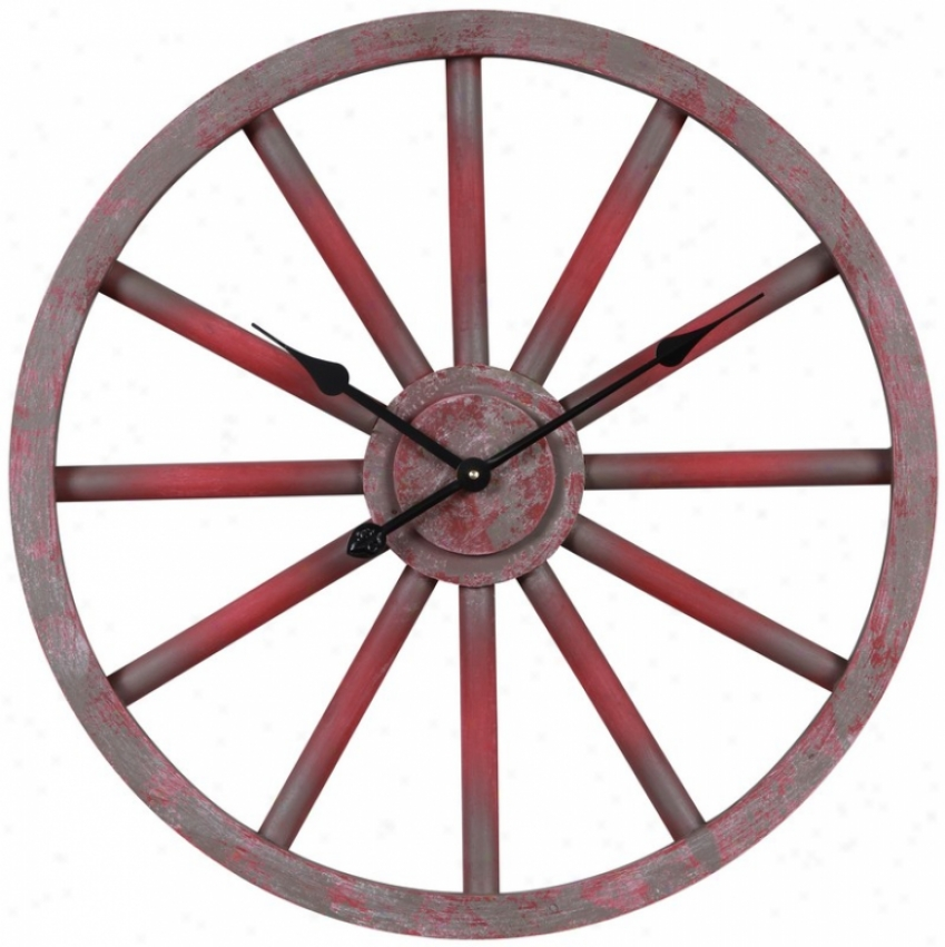 Wall Clock Wiyh Wheel Similar Purpose In Aged Crimson Finish