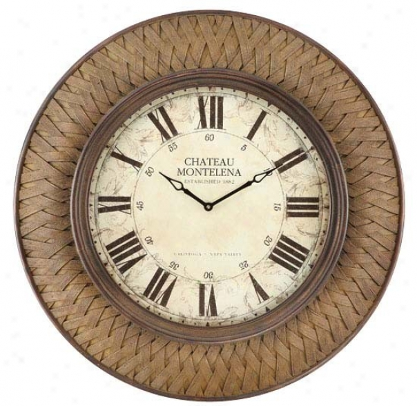 Wall Clock With Twig Design In Rust Weave Finish