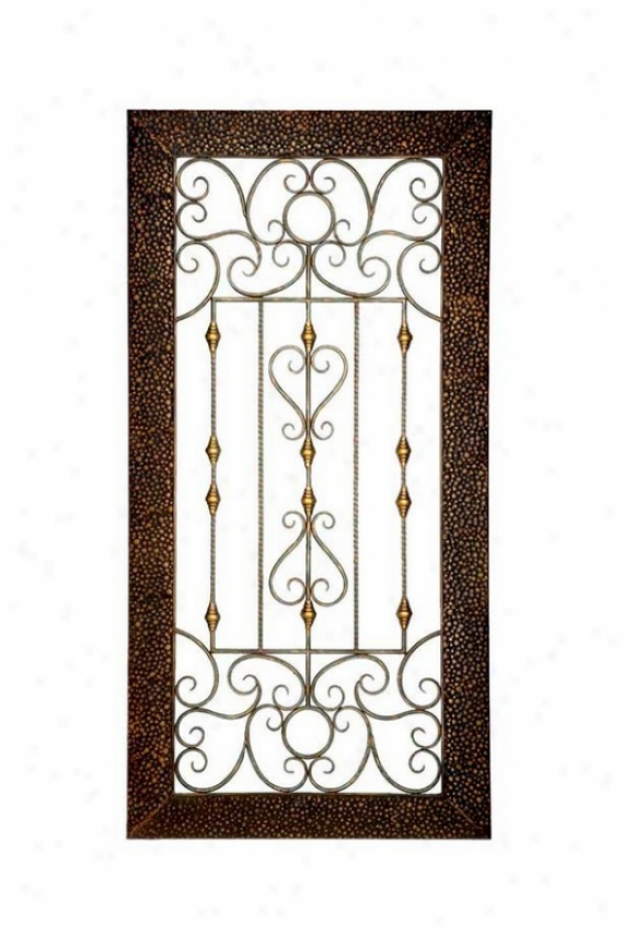 Wall Dã©cor Panel Scrolls And Insert Beade Motif In Antique Brown