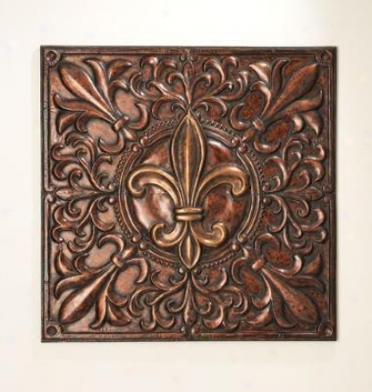 Wall D�cor With Fleur De Lis Project In Antique Gold And Copper Finish