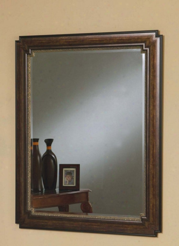 Wall Mirror Contemporary Style In Dark Brown Finish