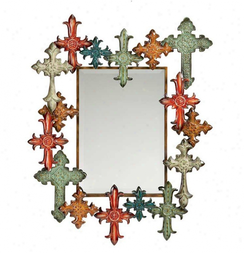 Wall Mirror Cross Design Frame In Multi Color
