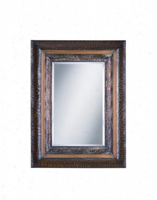 Wall Mirror In Aged Espresso Finish With Copper Highlights