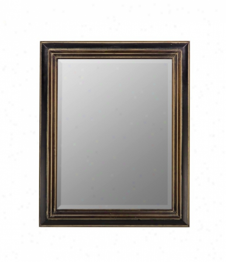Wall Mirror In Distressed Black Finish With Gather ~ Highlights