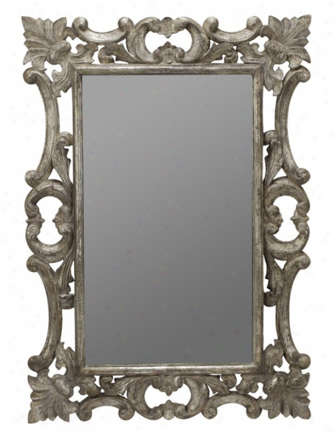 Wall Mirror With Carved Accents In Silver Finish