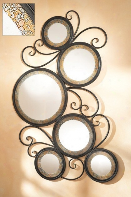 Wall Mirror With Circle And Scroll Design In Antique Espresso Finish