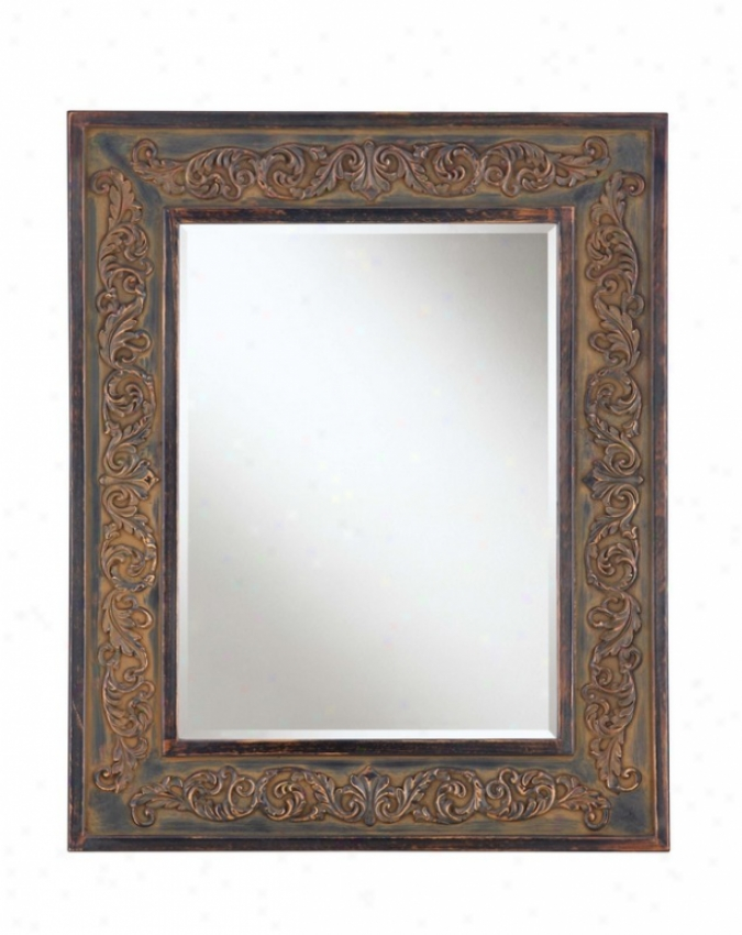 Wall Mirror With Crafted Leaves Frame In Brown Finish
