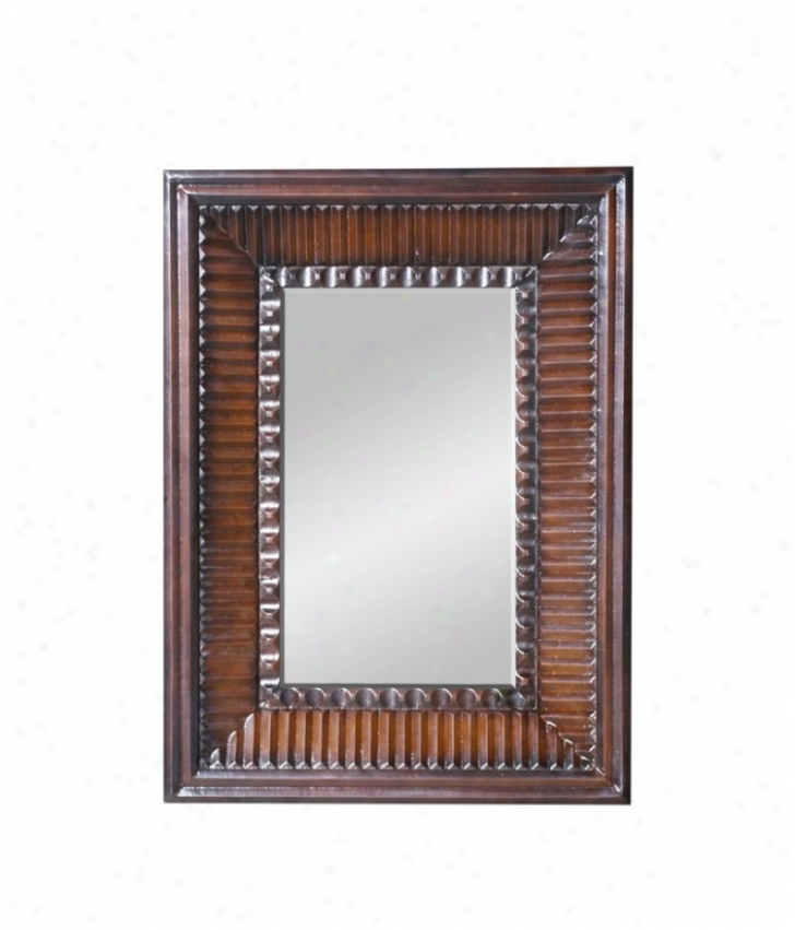 Wall Mirror With Embosses Frame In Distressed Chestnut