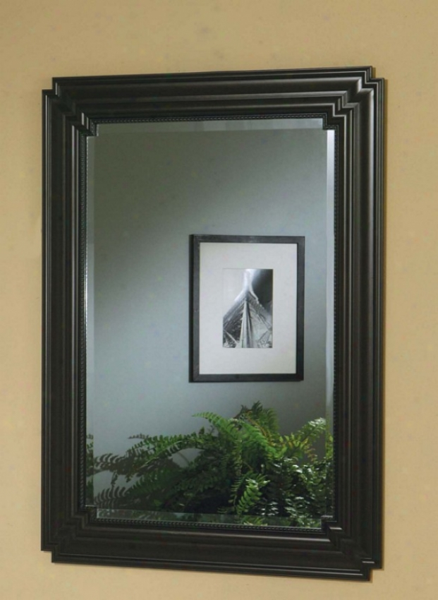 Wall Mirror With Metal Frame In Black Finish