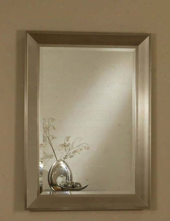 Wall Mirror With Metal Frame In Silver Finish