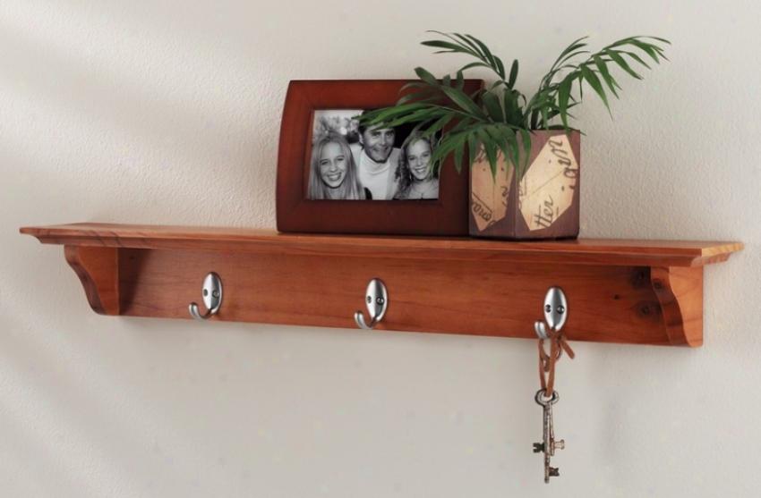 Wall Mounted Corner Shelf With Hooks In Oak Finish