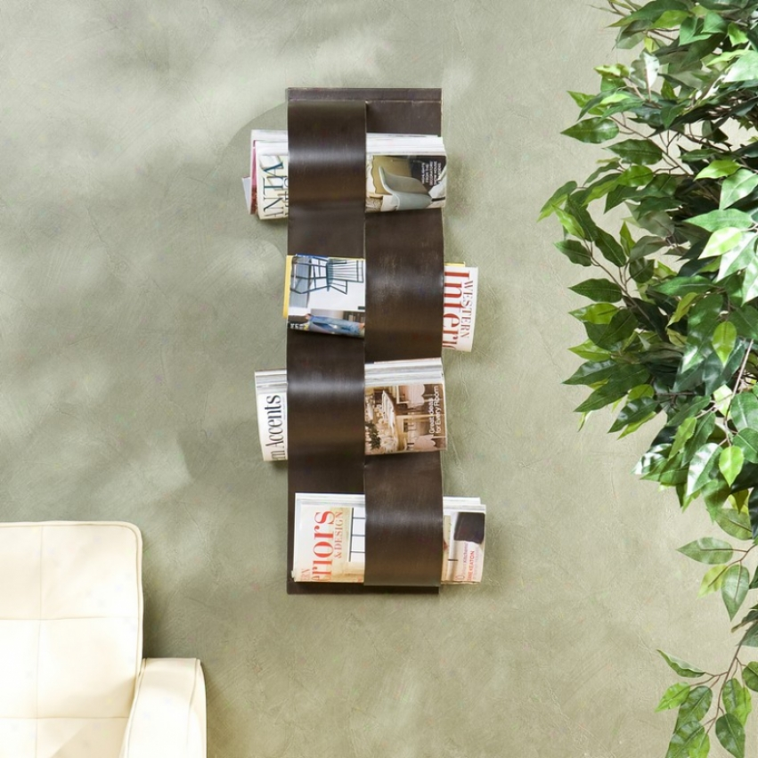 Wall Mounted Magazine Holder In the opinion of Undulating Panels In Brown Brush Finish