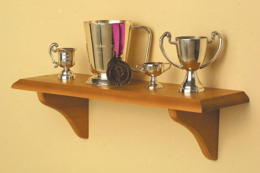Wall Mounted Shelf With Brackets In Honey Oak Finish