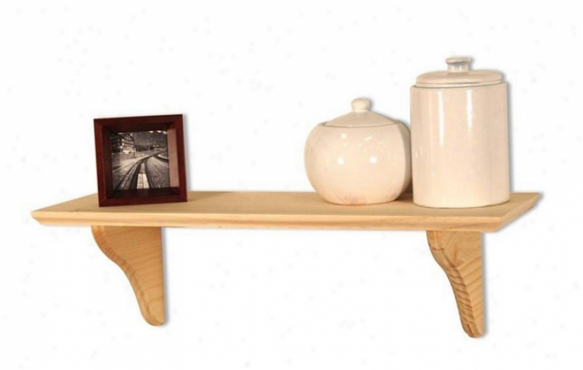 Wall Mounted Shelf With Brackets In Unfinished Design