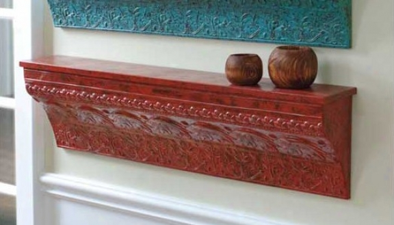 Wall Shelf Traditional Embossed Design In Distressed Red
