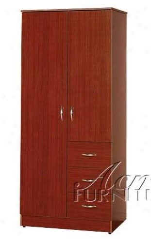 Wardrobe Bedroom Armoire In Cherry Finish