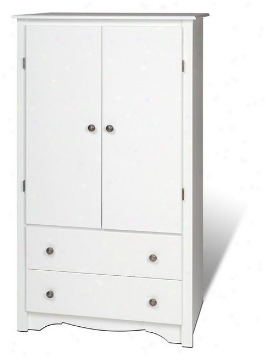 White Finish Bedroom Wardrobe Tv Entertainment Center Armoire