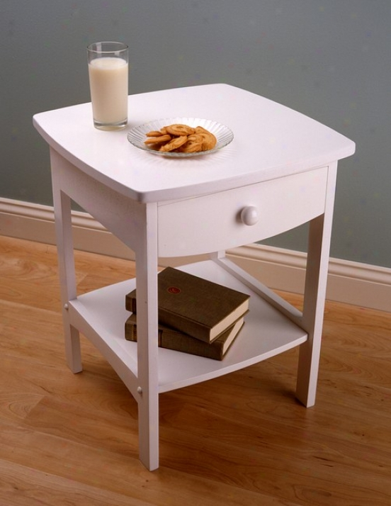 White Finish End Table/ Night Stand With Drawer