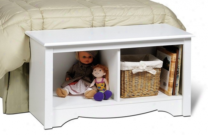 White Finish Monterey Assemblage Twin Cubbie Storage Bench