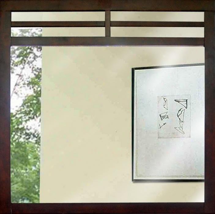 Wood Frame Mirror In Walnut Veneer Finnish