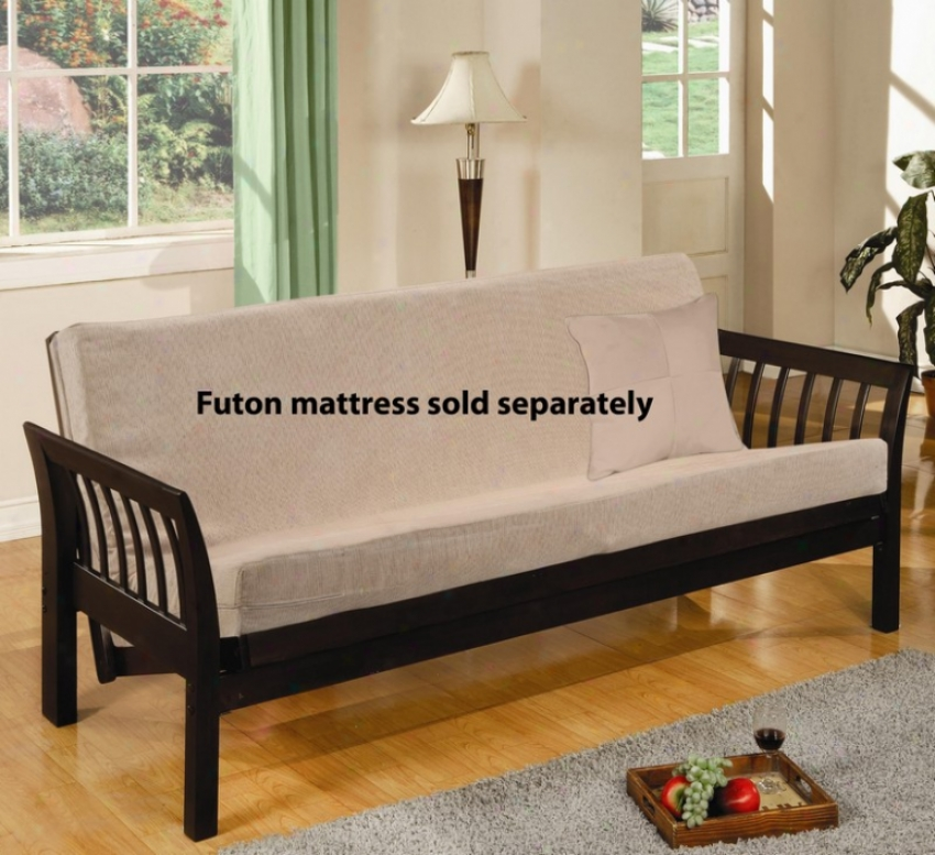 Woor Futon Frame With Flared Arms In Cappuccino Finish