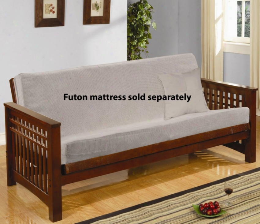 Wood Futon Frame With Sllat Desig In Cherry Polishing