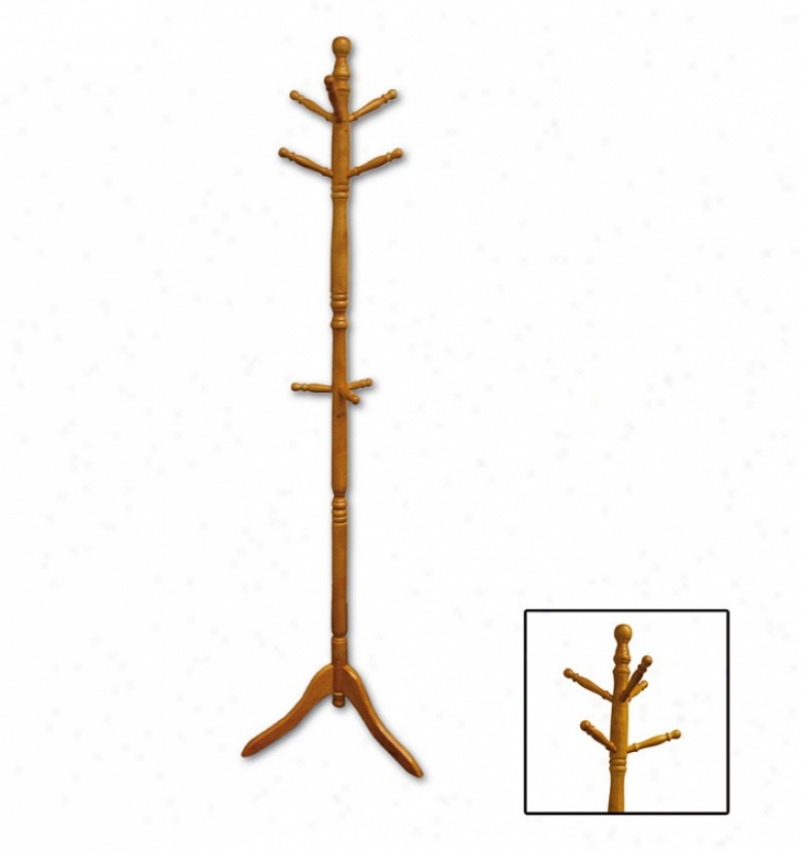 Wood Swivel Coat Rack In Natural Finish
