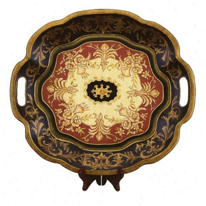Wooden Tray In Flower Shaped - Excellent Fkoral Pattern