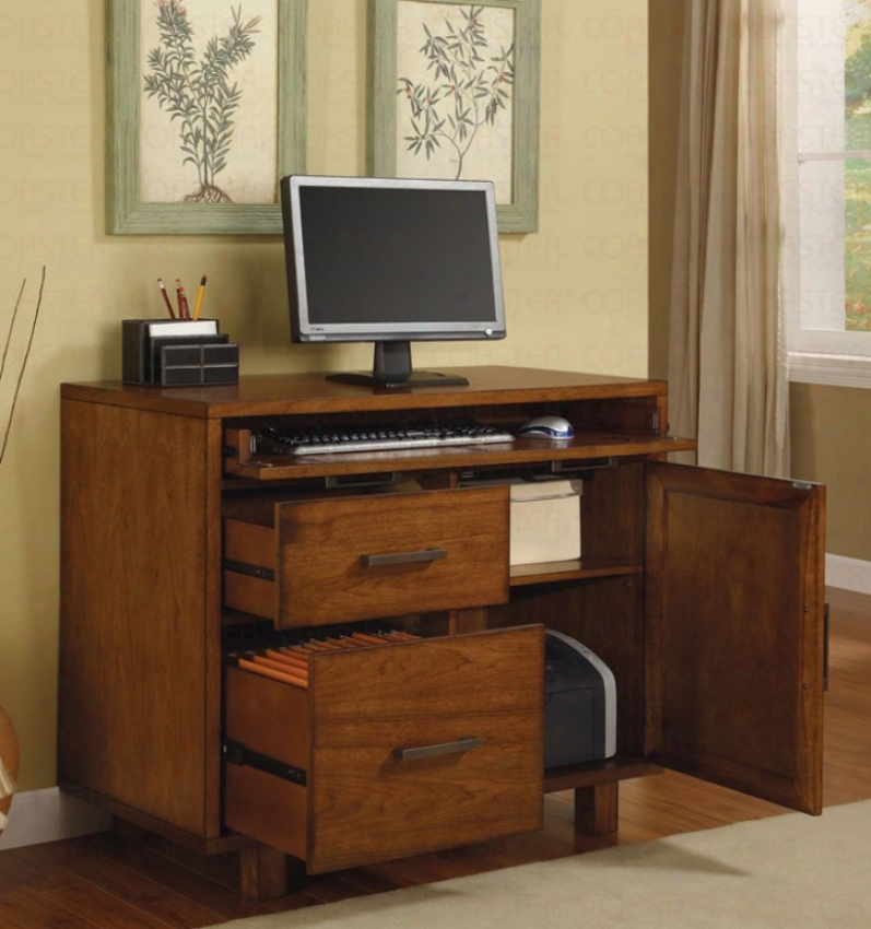 Workstation Computer Desk In Rich Medium Brown Finish