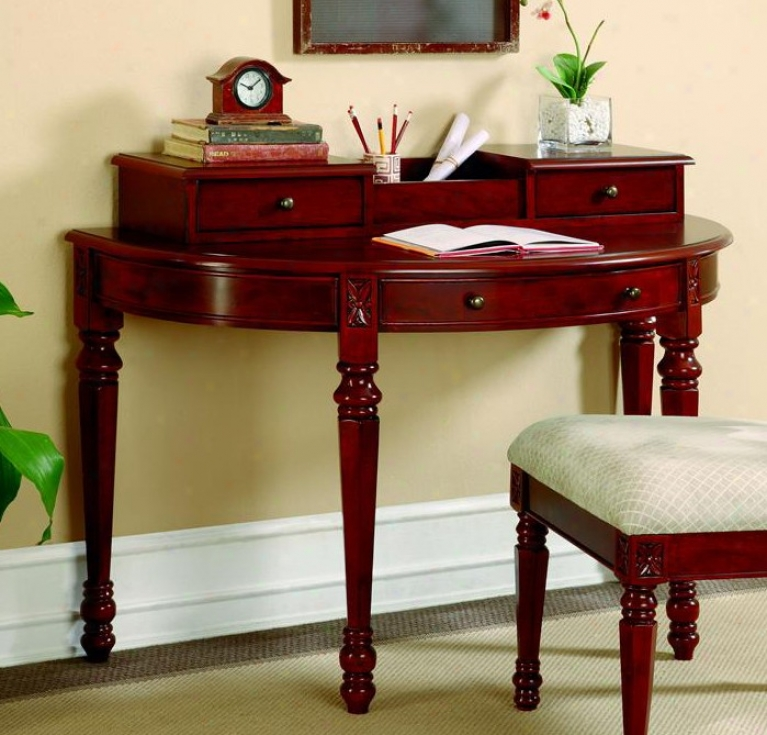 Writing Desk In Deep Brown Cherry Finish
