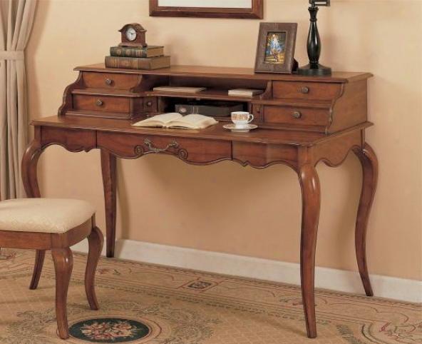 Writing Desk With Hutch - Medium Brown Finish