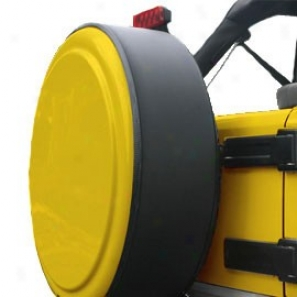 """""""boomerang Masterseries 32"""""""" Blank Detonator Yellow Faceplate With Powdercoated Black Stainles Steel Tire Cover Ring"""""""