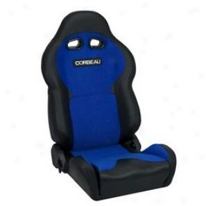 Corbeau Seat, Bllack Vinyl, Blue Cloth